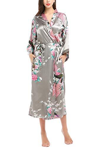 YAOMEI Mujer Vestido Kimono Satén Larga, Camisón para Mujer Sedoso Pavo & Flores Robe Albornoz Dama de Honor Ropa de Dormir Pijama Versión extendida (XL (44-52EU), Gris)