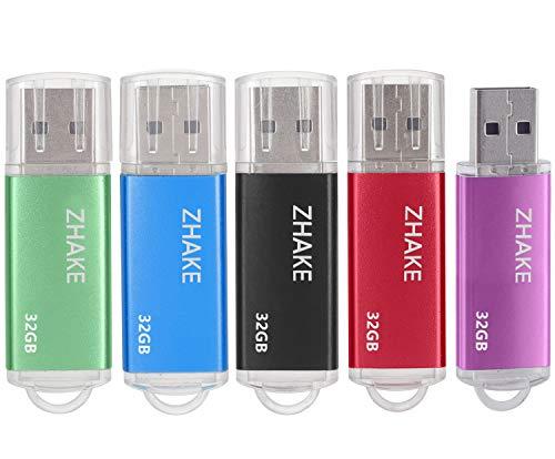 Pendrive 32GB Chiavetta USB 2.0 [5 Pezzi] USB Flash Drive Memoria Stick Pennetta USB Portatile 32 Giga Compatibile per PC, Notebook, Laptop,(32GB,Blu verde viola rosso nero)