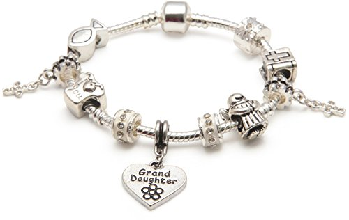 Bling Rocks Liberty Charms Childrens/Girls/Teen First Holy Communion/Christening Silver Plated Charm Bead Bracelet for Grand Daughter 20cm (Other with Gift Box and Velvet Pouch.