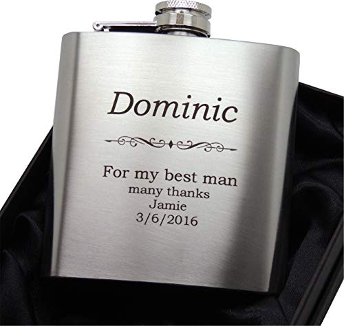 Laser engraved stainless steel 6 ounce hip flask with...