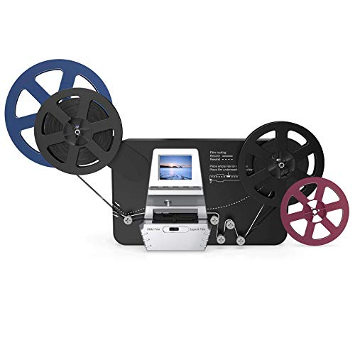 """8mm & Super 8 Reels to Digital MovieMaker Film Sanner Converter, Pro Film Digitizer Machine with 2.4"""" LCD, Convert 3 inch and 5 inch 8mm Super 8 Film reels into 1080P Digital Videos,with 32 GB SD Card"""