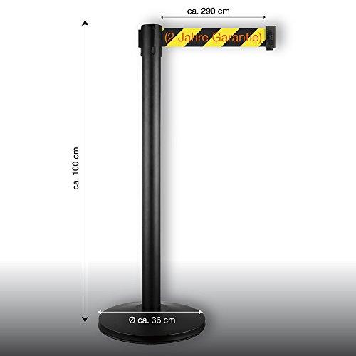 4-Wege Gurtbandpfosten Modell in-liner BELT - schwarz - Gurtband gelb/schwarz