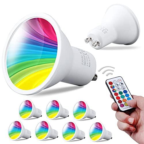 REYLAX® 8pcs Bombilla LED GU10 de 6W, RGB + Blanco Frío, Foco LED Que Cambia de Color, 12 Colores 5 Modos, Activación de Memoria, Ajuste Del Mando a Distancia Por Infrarrojos