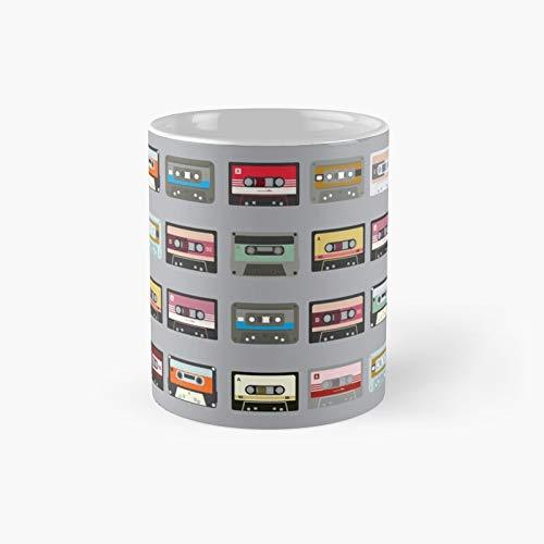 Retro Cassette Print Patroon Klassieke Mok - 11oz voor koffie, thee, chocolade of latte.