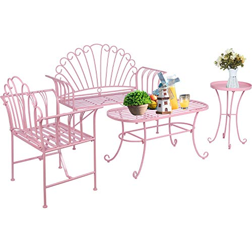 LAZZO 4 Pieces Patio Furniture Set, Modern Outdoor Garden Patio Conversation Bistro Sets Cast Iron Metal Frame Chairs with Coffee Table &Tray Metal End Table for Porch Poolside Lawn Balcony, Pink