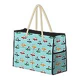 Bolsa de playa grande y bolsa de viaje para mujer – Bolsa de billar con asas, bolsa de semana y bolsa de noche – Corgis In Kayaks lindo al aire libre perro tricolor Corgis azul tinte