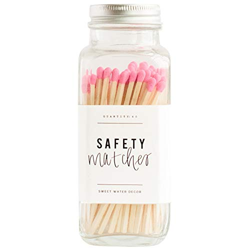 Sweet Water Decor Bright Pink Safety Matches - Glass Jar | 60 Strike On Bottle Matches Vintage Matches Home Decor Candle Accessory Bright Pink Tip