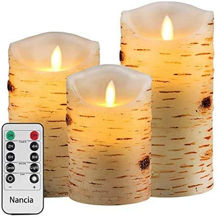 Nancia LED Candles with brich Effect Flickering Battery Operated Candles 4' 5' 6' Set of 3, 300 Hour Decorating Pillars,10-Key Remote Control with 24 Hour Timer Functio
