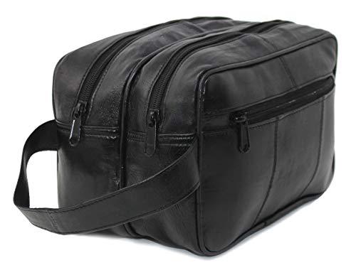RAS heren echt leer reistas nachttas rubberen tas toiletpapier (zwart) - 3520