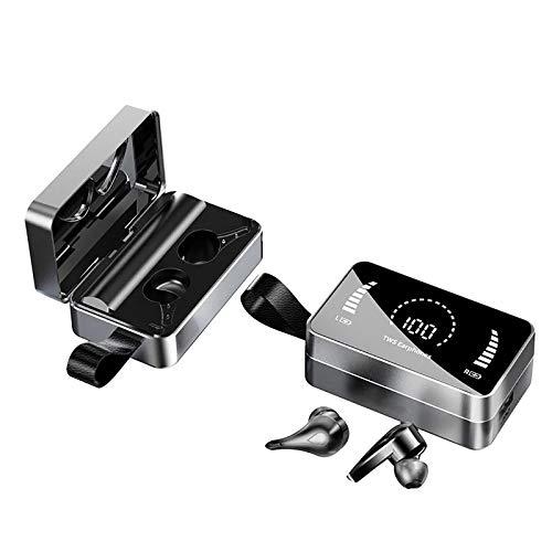 True Bluetooth Headphones 90h Playtime IPX7 Auriculares Deportivos Impermeables Pantalla LED Auriculares Bluetooth con CancelacióN De Ruido con 3500mah USB-C Estuche De Carga Y MicróFono (Negro)