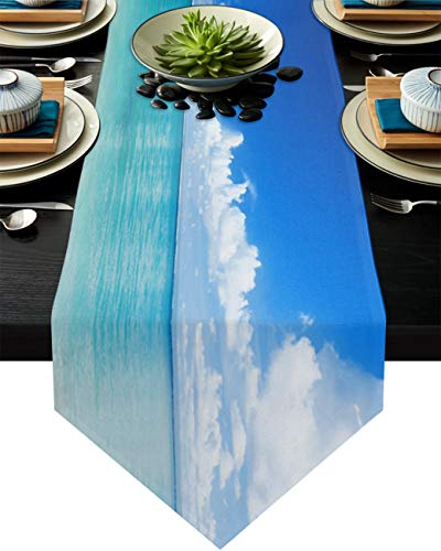 Savannan Burlap Kitchen Table Runner Summer Theme Sea Blue Sky Beach Landscape Long Anti-Skid Tabletop Decor Runner for Everyday Use,Special Occasions,Dinner Parties, 13'x70'