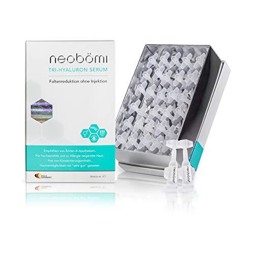 Hyaluronsäure Serum Hochdosiert - Hyaluron Anti-Aging Gesichtscreme gegen Falten - 30 hochkonzentrierte Ampullen von neobömi® - Natürliches Gesichtsserum - Dermatest Testsieger - Made in Germany