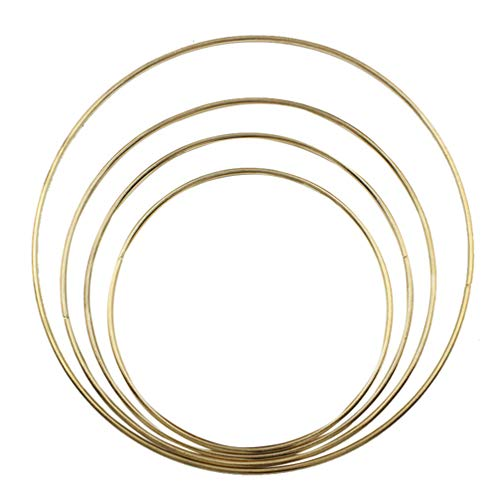 DOITOOL 4 piezas de metal atrapasueños anillos de metal aros para atrapasueños y artesanías doradas