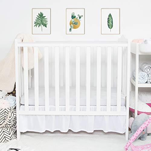 TILLYOU Mini Crib Skirt Ruffled Microfiber Portable Crib Bed Skirt for Baby Boys and Girls 24'#039 X 38'' 105#039' Drop White