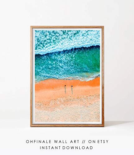 Strand Fotografie Oceaan Water Foto Muur Kunst Print Digitale Download Ariel Mensen Drone Beach Printable Grote Poster Kustdecoratie