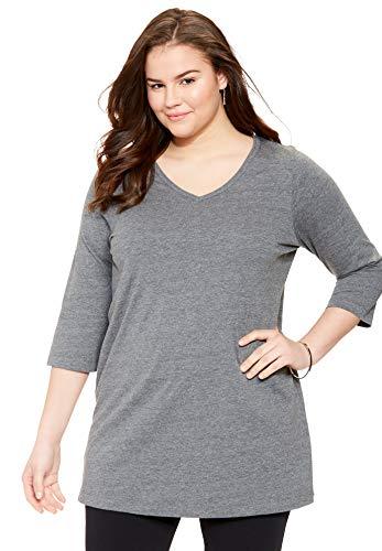 Woman Within Women's Plus Size Perfect V-Neck Three-Quarter Sleeve Tunic - 1X, Medium Heather Grey