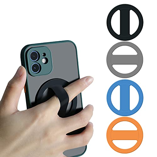 Elastic Silicone Phone Grip Attachable to Magnetic Mount, Ultra-Thin Cell Phone Holder for Hand, Phone Strap with 2 Pack, Black and Grey
