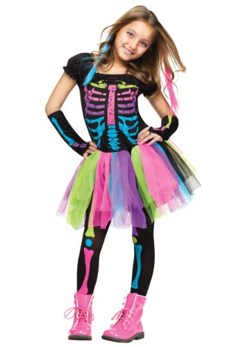Girls Funky Punky Bones Costume Medium (8-10)