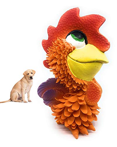 Rooster - Squeaky Dog Toy - Natural Rubber (Latex) - Sensory Dog Toy - 5' Tall - for Medium Dogs & Puppies - Complies with Same Safety Standards as Children's Toys