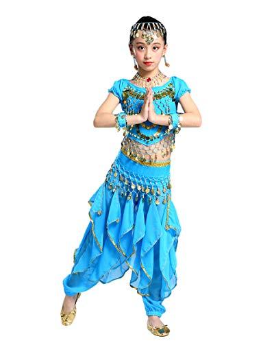 Grouptap Bollywood niños Indios kuchipudi bharatanatyam Princesa Danza del Vientre Azul 2 Piezas Pantalones de Onda Traje Traje niños niñas (Azul, 130-150 cm)