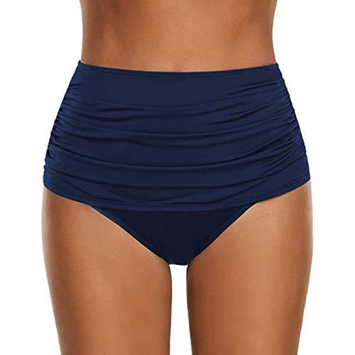 Lulupi Damen Badehose High Waist Bikini Shorts Bauchweg Figurformend Bikinislip Sport Yoga Hose Rüschen Badeshorts Bikinihose Faltig Shaping Effekt