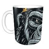 Tazza da caffè in ceramica per uomo Gorilla crudele e feroce Grandi tazze da caffè Tazza in ceramica da uomo 11 once per uomo Donna Regali ideali per colazione Latte