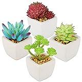 Artisulent Ceramic Potted Artificial Succulent Plants - Faux Succulents Desk Plants,Set of 4