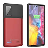 PunkJuice Note 20 Portable Charger Case, 6000mAh Extended Power Bank W/Screen Protector   IntelSwitch   Slim, Secure and Reliable Battery Backup for Samsung Galaxy Note20 5G (6.7') (2020) [Red]
