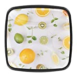 Perillas de frutas con patrón de hojas de menta para cajones de aparador, mango redondo, para cocina, armario, puerta, aparador (juego de 4)
