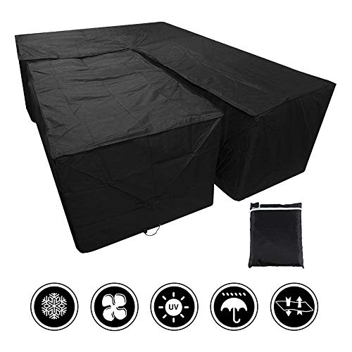 miuline L Shaped Garden Furniture Covers Dustproof Heavy Duty Outdoor Patio Rattan Corner Sofa Cover with Storage Bag for Moving or Sunscreen (215X215X87CM, Black 1 Set)