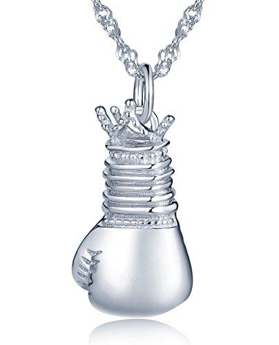Yumilok Damen Halskette Herren Kette mit mini Boxhandschuh Anhänger Collier 925 Sterling Silber für Damen Mädchen