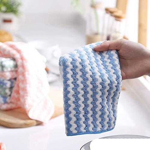 Trapos de Limpieza antigrasa de Cocina Paño de Limpieza de Microfibra Plato para Lavar el hogar Herramientas de Limpieza multifuncionales, Azul, 10 Piezas