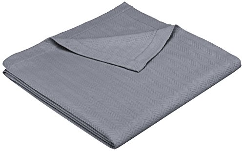 Amazon Brand – Pinzon Egyptian Cotton Herringbone Blanket - Full/Queen, Grey