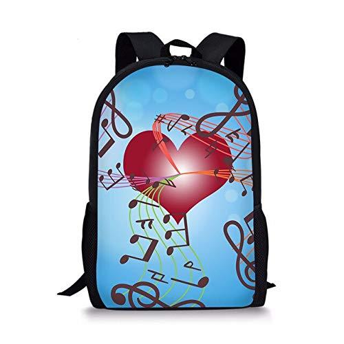 Mochilas Escolares de Moda para Mochilas Escolares ortopédicas primarias Notas Musicales Corazón Impreso Niñas Niños Mochila 44 * 28 * 13 CM B