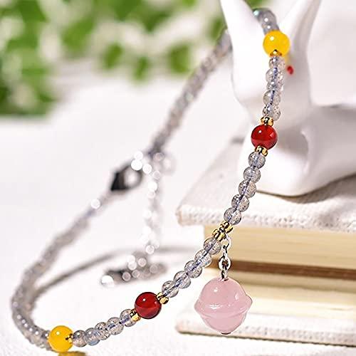 Feng Shui Anklet Natural Gemstone Moonstone Ankle Bracelet Lucky Charm for Women 2Mm Round Beads Beaded Foot Bracelet Rose Quartz Bells Charm Pendant Reiki Healing Crystal Chakra