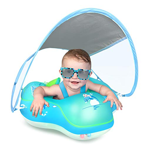 LAYCOL Baby Swimming Float with UPF50 Sun Canopy Baby Floats for Pool No Flip Overbaby Pool for Baby Age of 336 Months Blue L