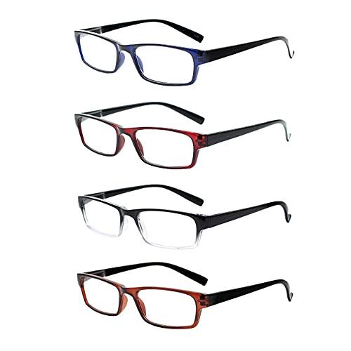 COJWIS 4er-pack lesen Brille Paare Qualität Leser Frühling Scharnier Brille zum Lesen zum Männer und Frauen