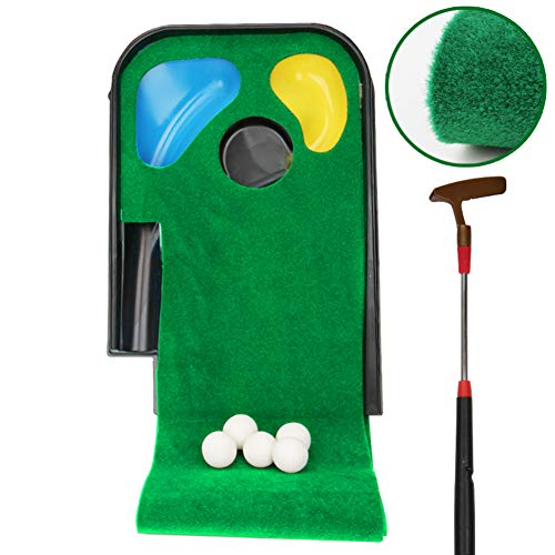 Mini Golf Putting Green with Putter,Portable Putting Mat for Indoor Outdoor,Professional Golf Training Mat for Children Adults A