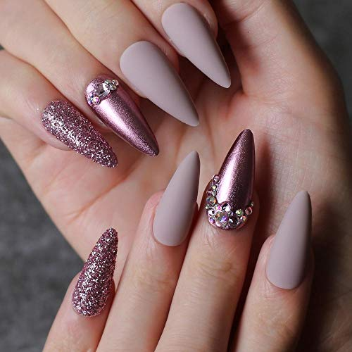 CSCH Faux ongles Stiletto Nude Fake nails Rose metal crystal false nails red glitter full set long go custom Salon Burgundy press on nails
