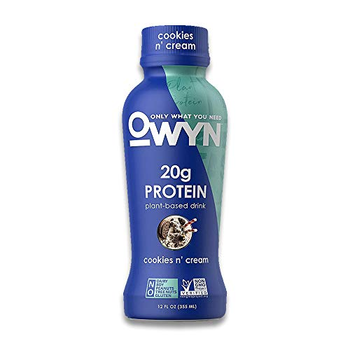 OWYN, Plant-Based Protein Shake - 100% Vegan Premier Protein Shakes, Omega 3, 20g Plant Protein, Dairy Gluten and Soy Free - Delicious Cookies and Cream Flavour, 355ml Pack of 12