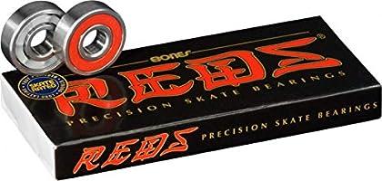 Bones Bearings Reds Precisie Skate Kogellager, Zilver/Rood, 8 Stuks