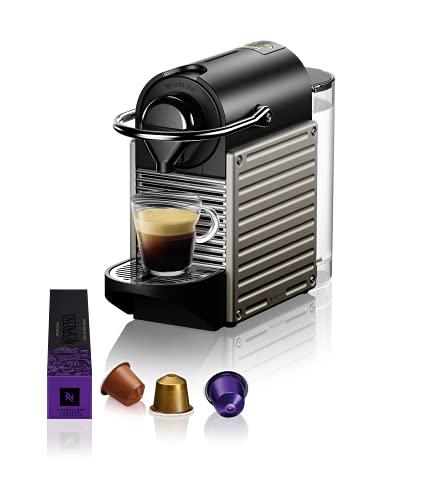 Krups Kapselmaschine Pixie XN304T | 19 Bar Druck | Automatische Abschaltung | Itelligente Espressomaschine | 0,7 L Wassertank | schwarz/ titan