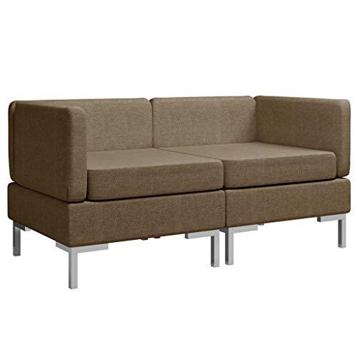 Irfora Modular Ecksofas Modular Mittelsofas Rattan Ecksofa Lounge Sessel Gartenmöbel Couch Ecksofa Eckcouch 2 STK. mit Auflagen Stoff Braun