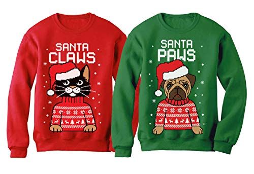 Santa Paws Santa Claws Ugly Christmas Sweater Sweatshirt Matching Couple Set Claws Red Medium/Paws Green Medium