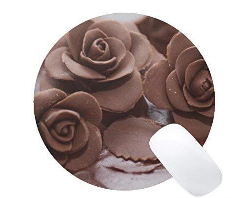 Robustes rundes Gaming-Mauspad, Schokoladenblumen-Dekorations-Kuchen-Druck-runde Maus-Matte