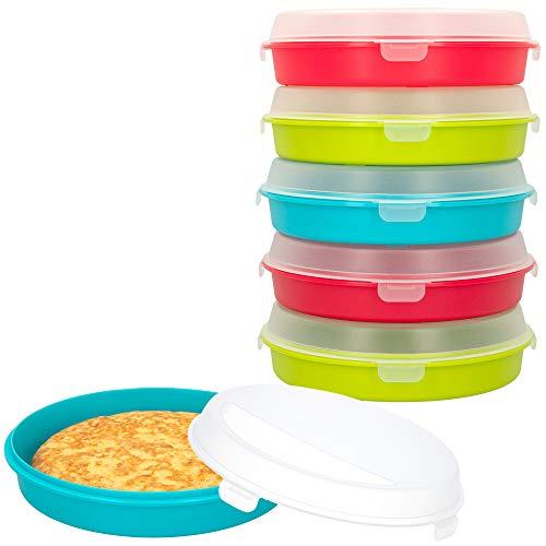 AKTIVE - Pack 6 Recipientes para tortillas reutilizables, 20 cm de diámetro, Libre de BPA, Apto para microondas y lavavajillas, tapa translúcida con 4 cierres de bloqueo, 600ml