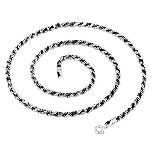 KnBoB Damen Herren Halskette Twist Kette Anhänger Buddhismus Silberkette 50cm 925 Sterling Silber
