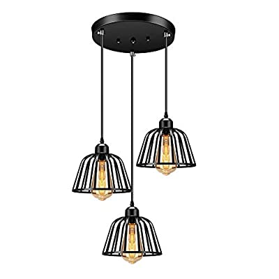 Vintage Industrial Pendant Light with 3-Light Cage Shade - Farmhouse Rustic Style Hanging Light Fixture for Kitchen Island Bar - Black