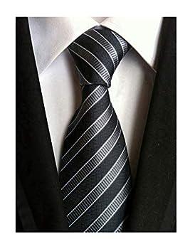 Secdtie Men s Striped Grey Black Jacquard Woven Silk Tie Formal Necktie TW01