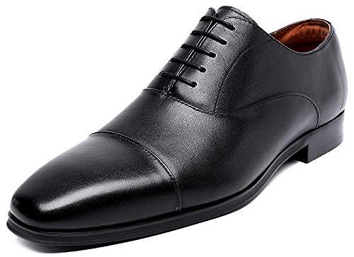 [RIBONGZ] ビジネスシューズ メンズ 革靴 本革 紳士靴 高級靴 内羽根 ストレートチップ 屈曲性 ブラック 26...